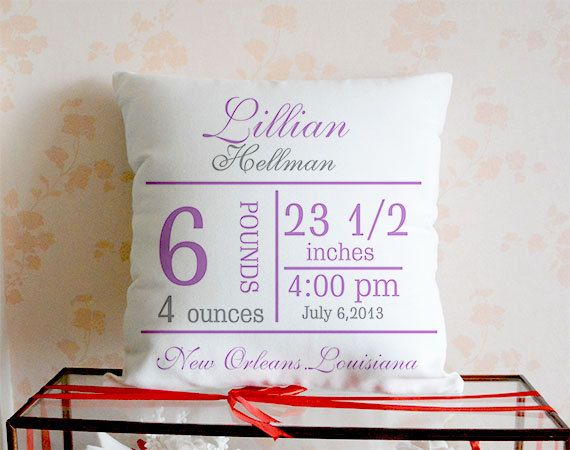 Personalized baby pillow cover, Baptism Gift, Custom baby Pillowcase, Personalized Birth Announcement Pillow Cover, Birthday Gift, Throw pillow.  - The size of the pillow cover 18x18 inches (45 cm x 45 cm) - The pattern is only available on the front side. the back is the natural linen color without printing.