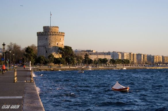 The waterfront from the center of Thessaloniki at sunset.