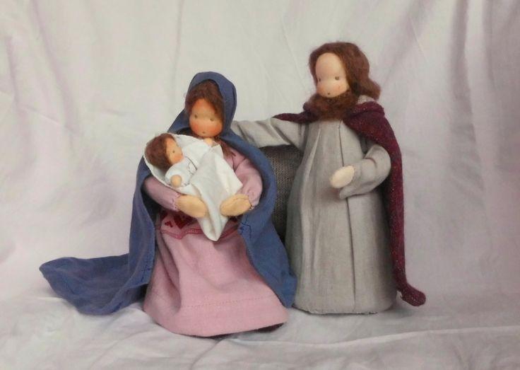 Maria Josef Jesus Krippefiguren Heilige Familie... von Farbenmärchen Puppen auf DaWanda.com