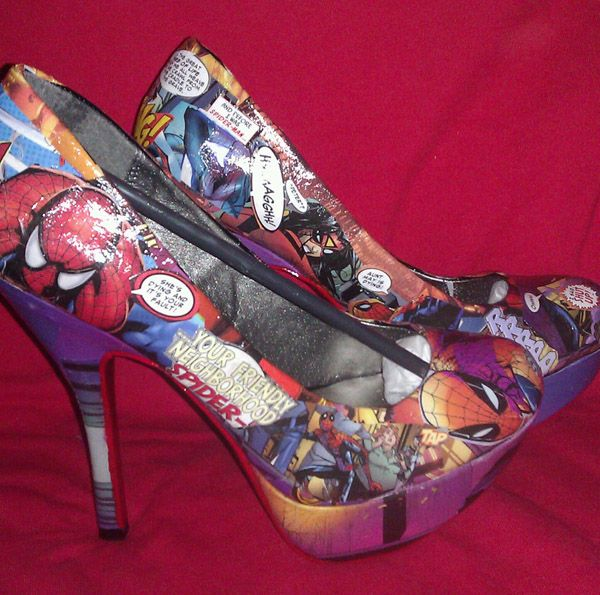Spider Man Heels Comic Book High Heeled Shoes ... I assume their DIY with decoupage and comic books.