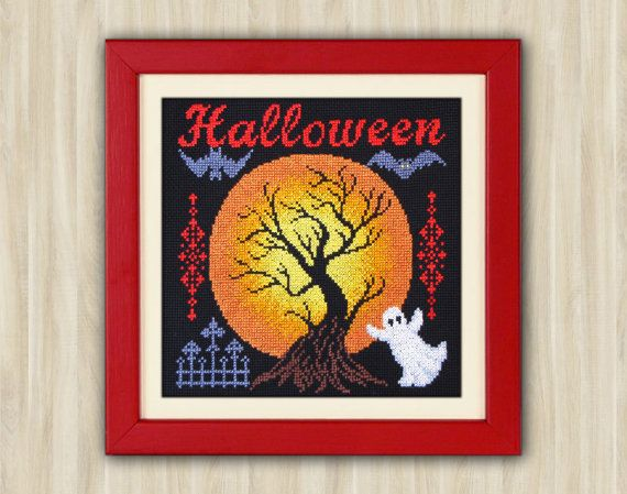 Cross Stitch Pattern PDF Halloween Original gift Spooky Halloween moon Art red Home Decor embroidery Crazy Hand Made Gothic halloween ghost