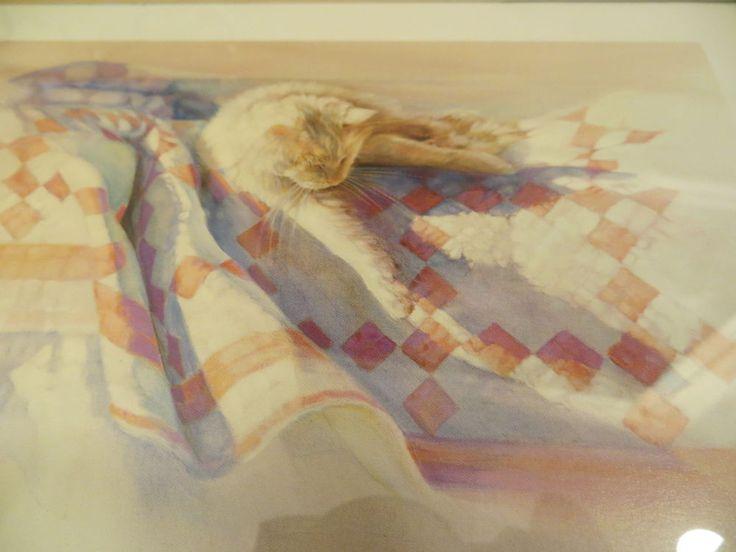 SIGNED PRINT  NANCY NOEL SEPTEMBER SUN WHITE CAT ON QUILT WOOD FRAME | Art, Art Prints | eBay!