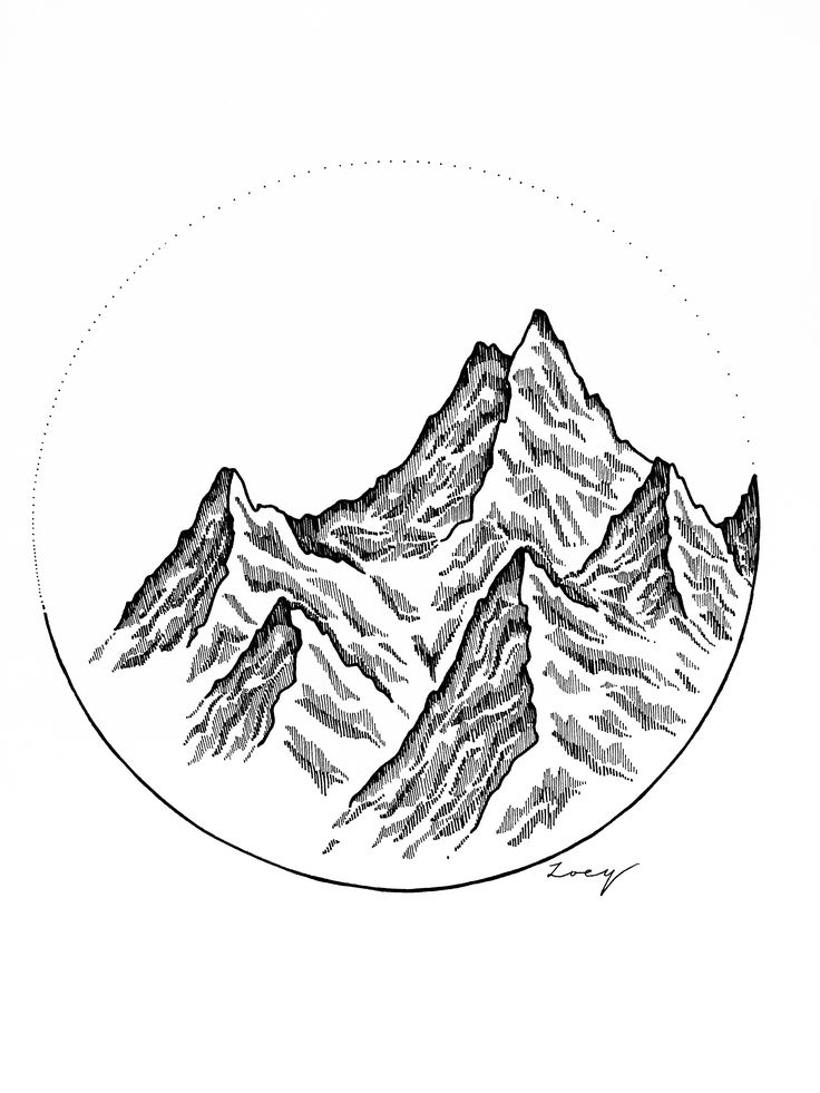 • Mountain scape • Black ink • Drawing
