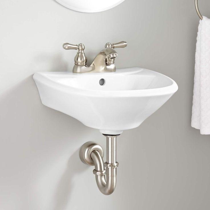 Farnham Mini Porcelain Wall-Mount Bathroom Sink – 4″ Centers – Biscuit