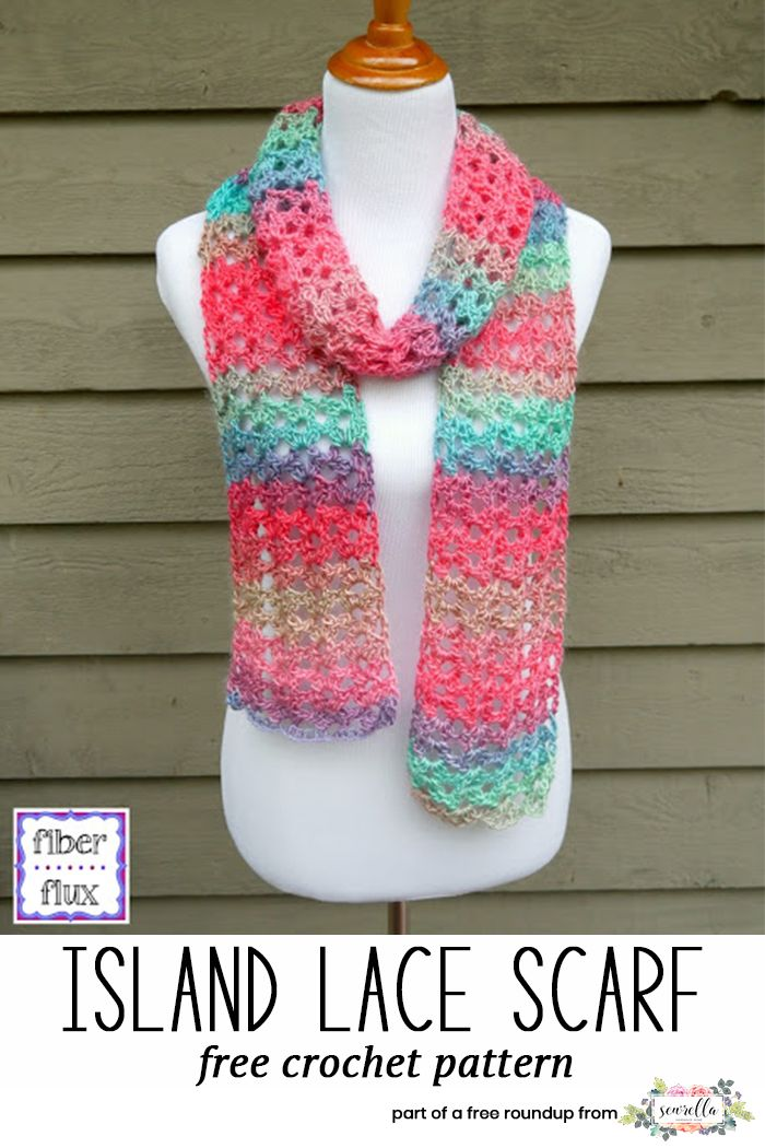 Crochet this easy beginner friendly island lace scarf from Fiber Flux - the absolute best for new crocheters! Part of my top 5 easiest scarves free pattern roundup.