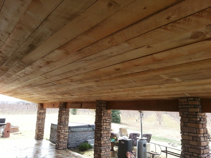 Rough Sawn Pine Boards Finish The Ceiling Of The Porch