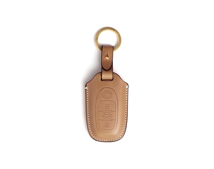 Handmade  Audi Buttero Leather Smart Key Cover/Case   -Handmade by: Custom Republic  -Leather: Vegetable leather from Conceria Walpier & Vera Pelle -Attachment pieces: 18K gold satin coating - Colors: natural, yellow, orange, brown, navy, and camouflage -Thread & Stitching: Serafil (from Germany)  -Measurement: 6.1cm x 16cm