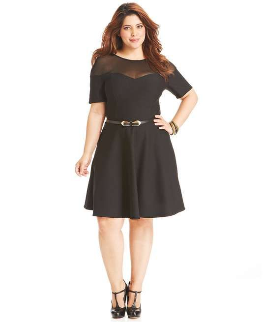 Love the Trixxi Plus Size Dress, Short-Sleeve Illusion A-Line Belted on Wantering.