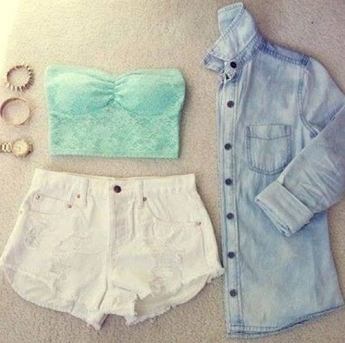 Summer Outfit - White Shorts - Lace Strapless Cop Top find more women fashion…