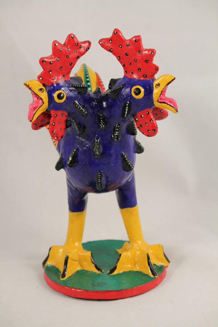 Mexican paper mache vintage judas sculpture folk art at 1stdibs - Two Headed Blue Rooster Ceramic Betus Mexican Folk Art Juan Jose Ramos Medrano