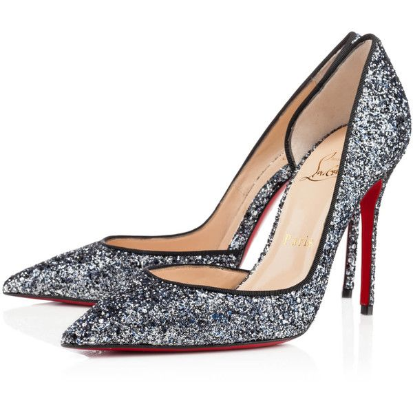 Christian Louboutin Iriza (20,820 THB) ❤ liked on Polyvore featuring shoes, pumps, christian louboutin, heels, louboutin, blue khol, new arrivals, blue high heel pumps, glitter pumps and pointy-toe pumps