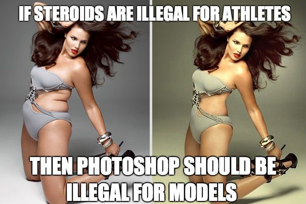 Before and after photoshop. No wonder most girls are unhappy with their bodies! Almost every image we see is of a photoshopped model.