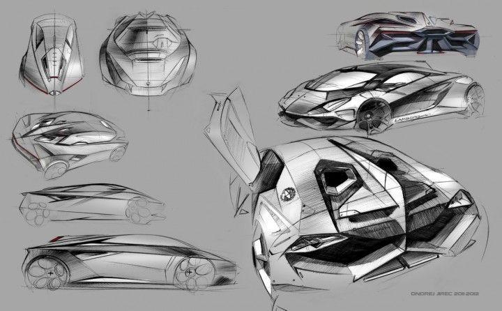 Lamborghini Perdigon Concept Design Sketches