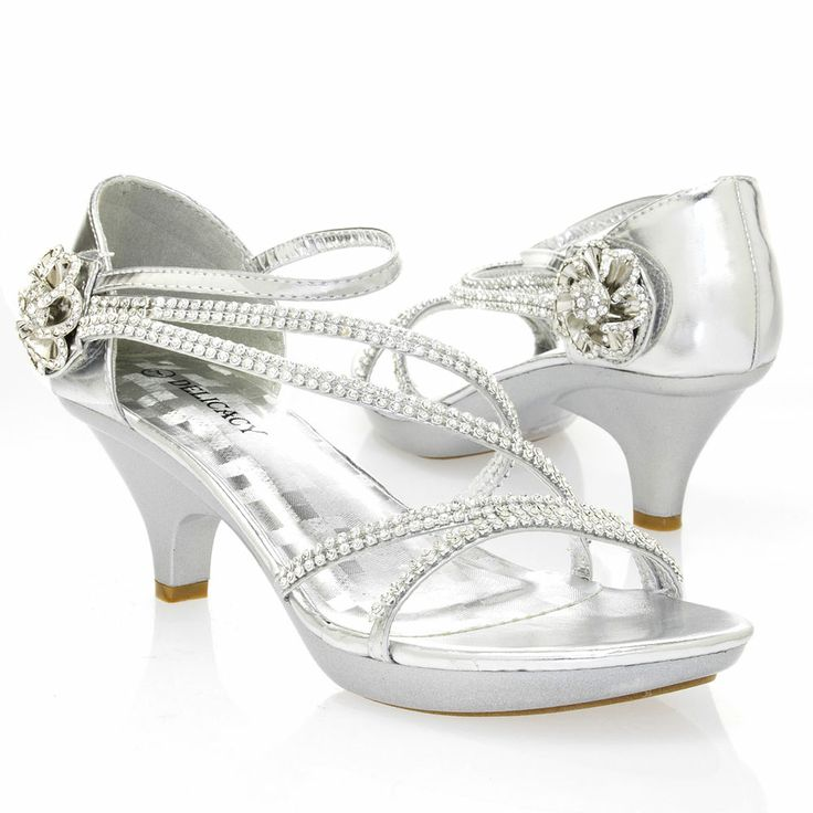 Silver Open Toe Rhinestone Flower Strappy Med Low Heel Pump Party Wedding  Sandal #Delicacy #