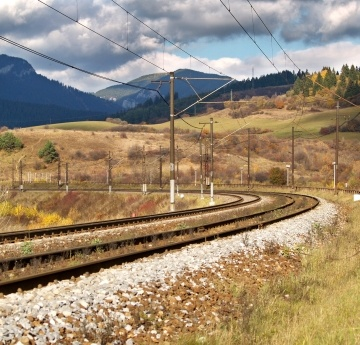 Autumn view of empty railroad near Besenova village, in Liptov region, Slovakia.