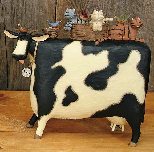 Large Cow with Cats Figurine