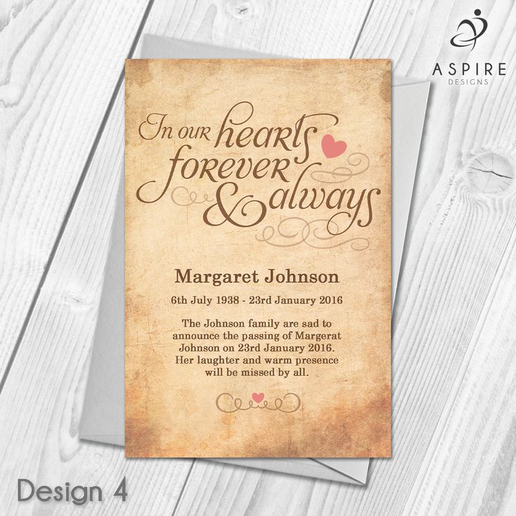 13 best personalised funeral announcement cards images on pinterest personalised funeral memorial bereavement announcement cards stopboris Gallery