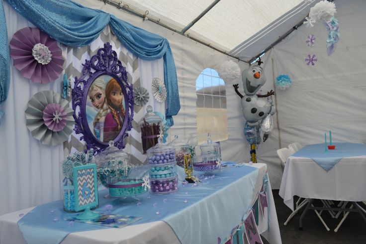 Diy candy table chevron purple and blue diy PVC piping backdrop ikea picture frame with poster in it rosettes sequin fabric plastic candy containers very kid friendly