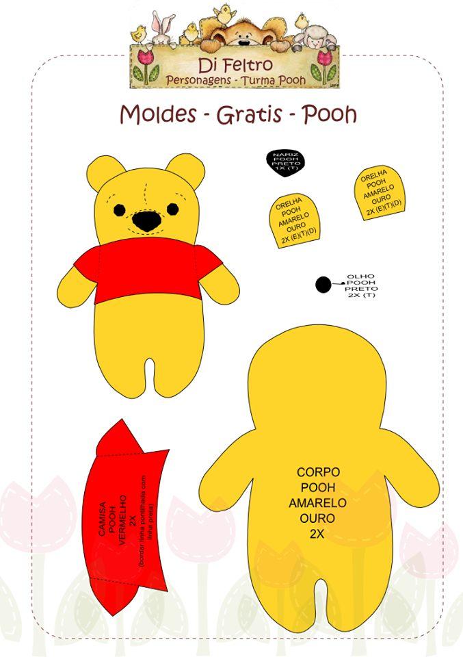 Molde Ursinho Pooh em feltro.