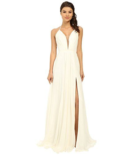 Faviana Women's Chiffon V-Neck Gown w/ Full Skirt 7747 Iv...