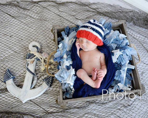 Cute nautical hat on Etsy  Newborn Photo Prop Nautical Hat Sailor Hat by MySweetKnittings