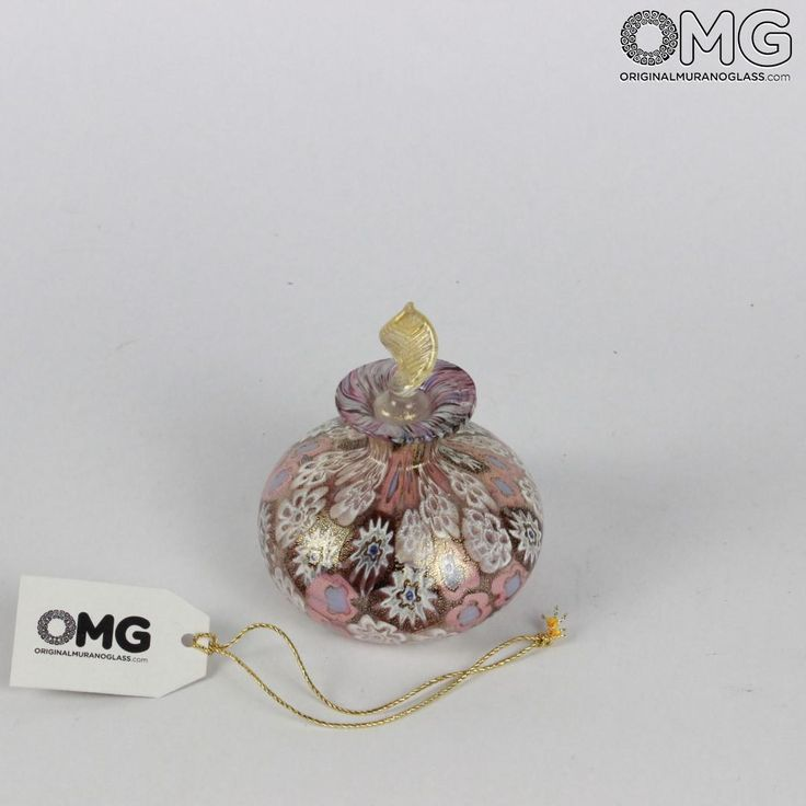 Scent Bottle Millefiori Gold Pink with Leaf - Murano Glass