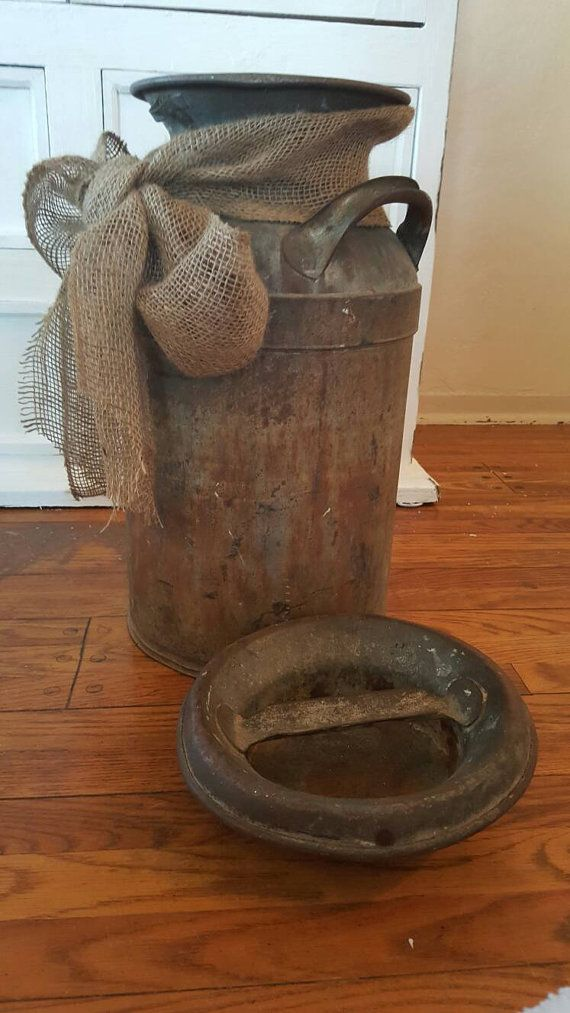 Vintage Dairy Farm Milk Can Patina Rustic by SweetRustandCo