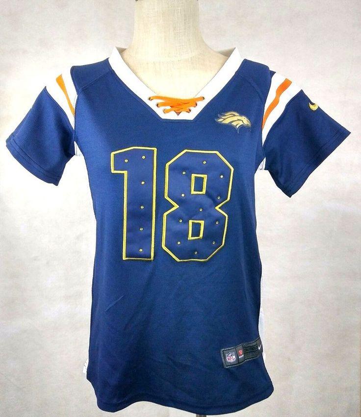 Nike NFL Jersey L Peyton Manning Denver Broncos Orange Navy Rhinestones Sequins #Nike #DenverBroncos