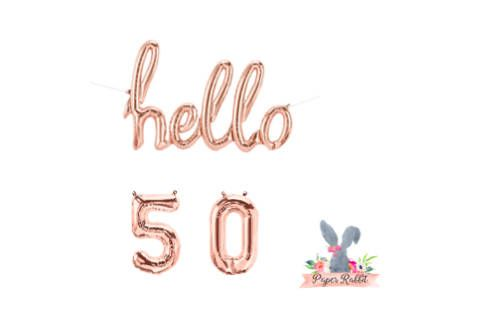 Hello 50 Rose Gold Script Balloon. Hello Balloon. 50TH Birthday Party. Birthday Party Decorations.Rose Gold Balloon.Hello 50 Balloon Banner by PaperRabbit87 on Etsy