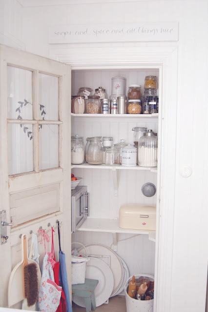 closet pantry with old door