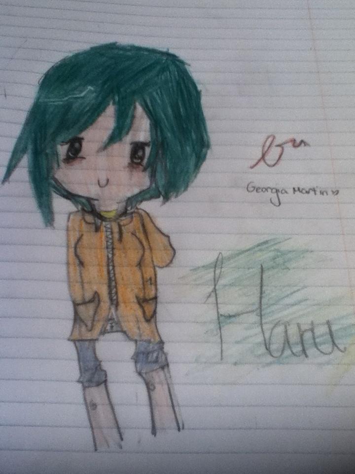 Cute Haru smiling sweetly with an orange hoodie on.