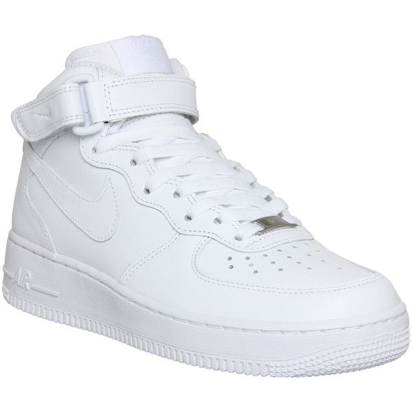 Nike Air Force 1 Mid (w) ($71) ❤ liked on Polyvore featuring shoes, sneakers, nike, trainers, hers trainers, white, ankle wrap shoes, nike footwear, leather shoes and nike trainers