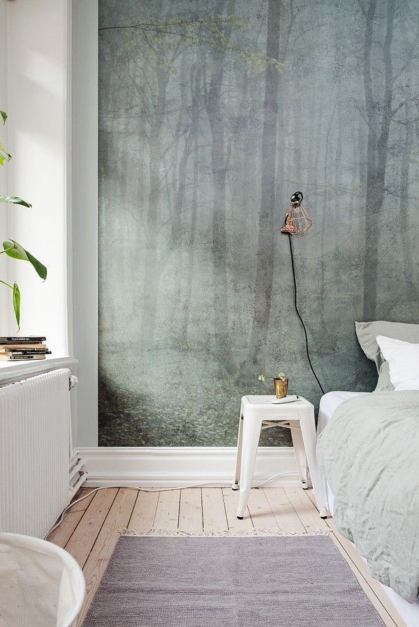 The color of the wall is Flügger 4491 - it was styled by StudioCulver https://www.instagram.com/studiocuvier/ The bed linens are from @tellmemoregbg and the room was styled for an Alvhem Mäkleri apartment.  The wallpaper is skog by Sandberg https://www.scandinaviandesigncenter.com/brands/sandberg-wallpaper/skog-digital-wallpaper/