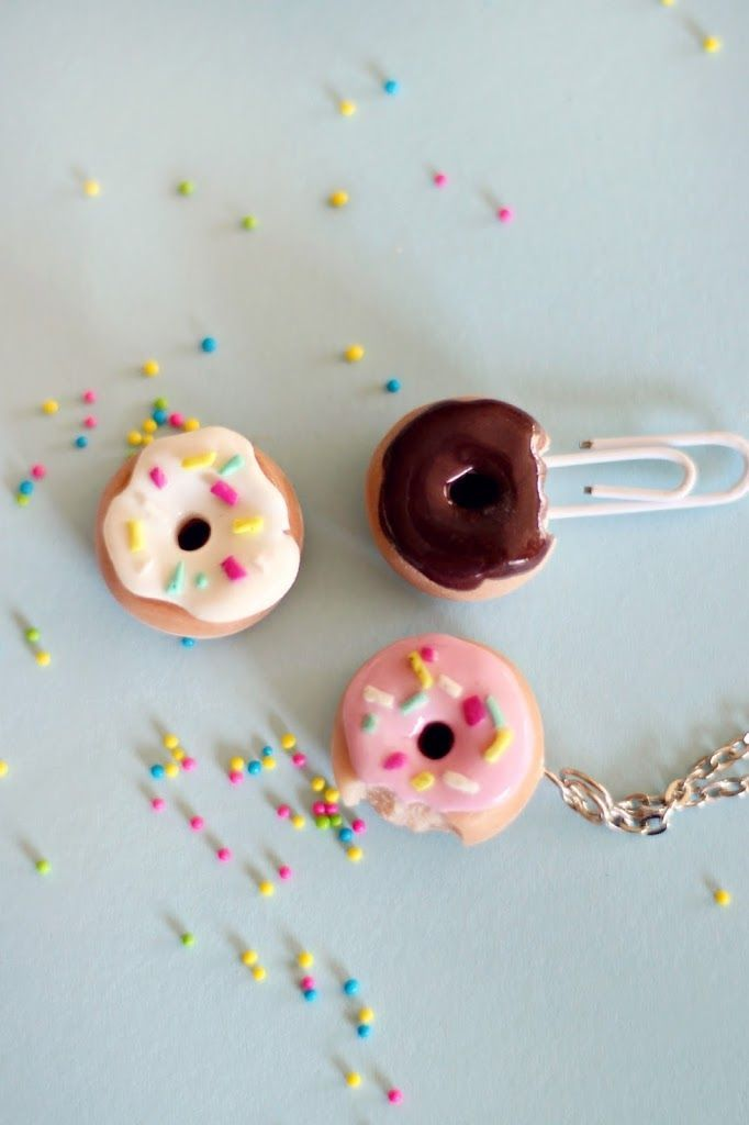 polymer clay donut pins http://www.ehow.com/ehow-crafts/blog/how-to-make-a-polymer-clay-doughnut-charm-or-ring/