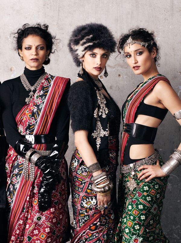 Don't care much for the styling, but oh the jewelry! and the sarees are a treasure---perfect examples of the double ikat technique, where the yarn for both the weft and the warp is dyed prior to weaving. You and I would probably need an advanced degree in math for that!