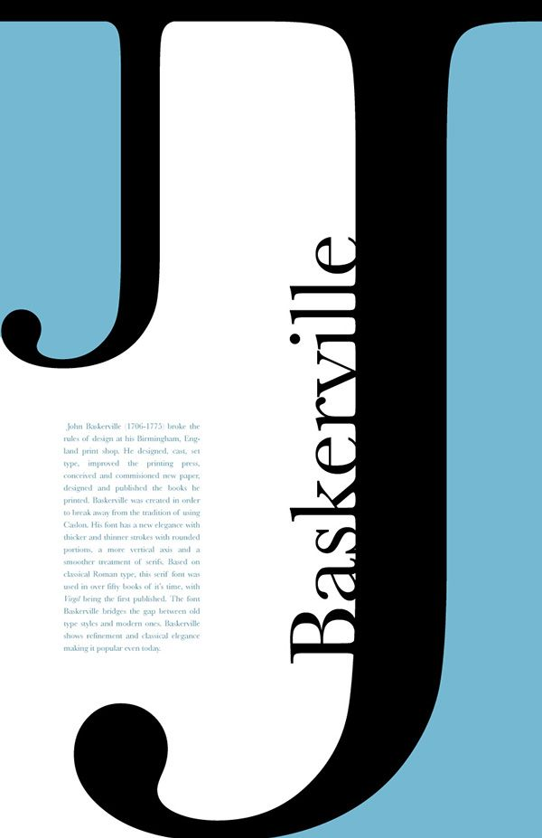 A just for fun poster project featuring type a different font on each and it's history.