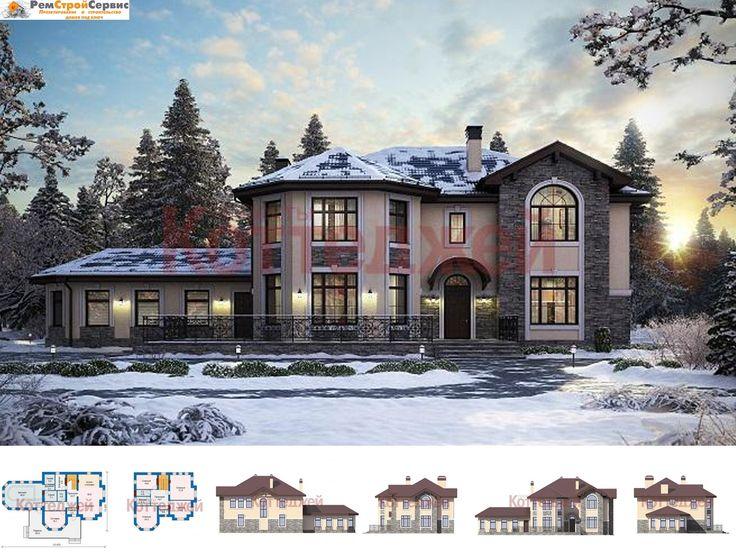 Проект дома Двухэтажный кирпичный коттедж с бассейном, сауной и эркером