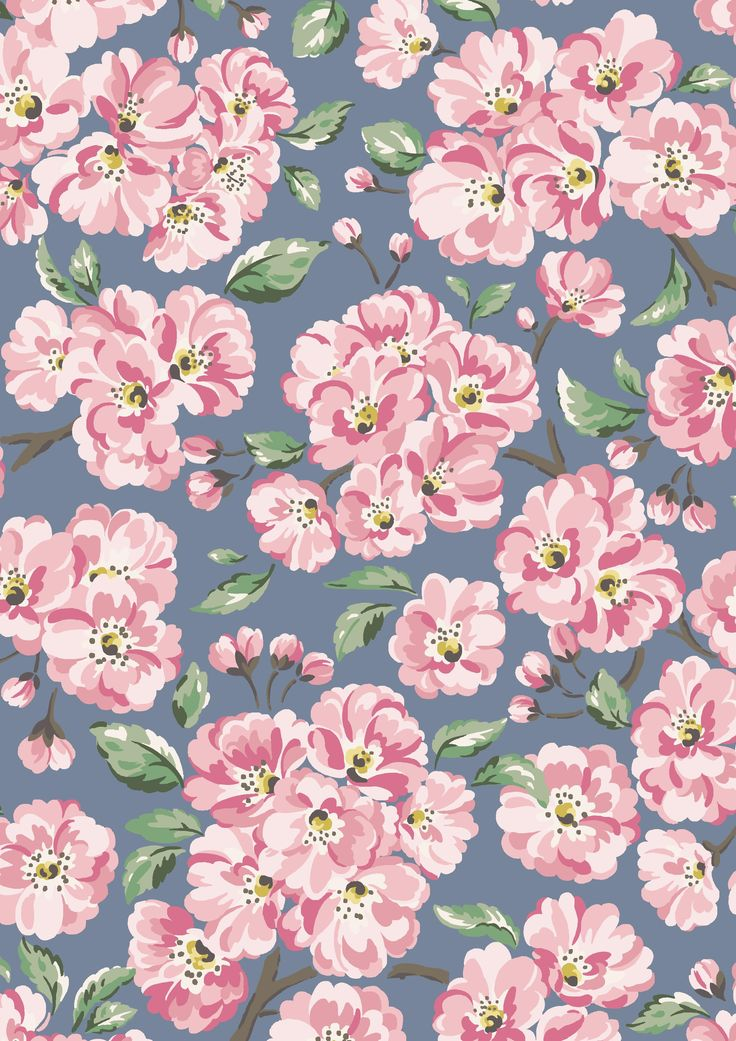 Blossom Bunch | A celebration of the beautiful cherry blossoms that symbolise spring across the world, especially in Japan - this print was first created with our Japanese customers in mind. The combination of powder pink blooms and blue sky backdrop mirrors Pantone's Colours of the Year for 2016, Rose Quartz and Serenity | Cath Kidston SS16 |