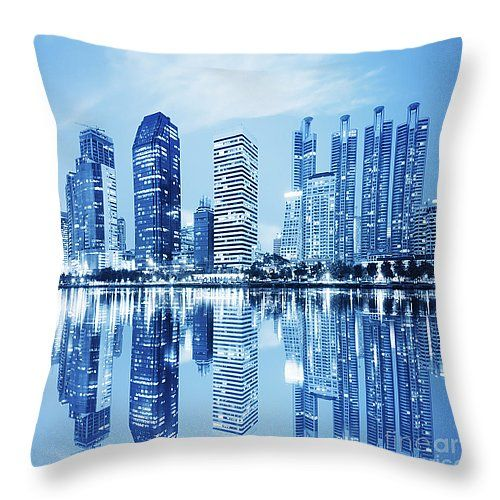 "night scenes of city Throw Pillow 14"" x 14"""