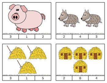 The Three Little Pigs Count & Clip Cards *Common Core Aligned*