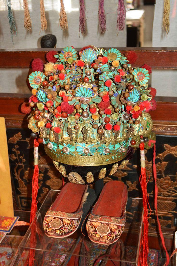 Peranakan Wedding Headdress & Shoes. The Intan