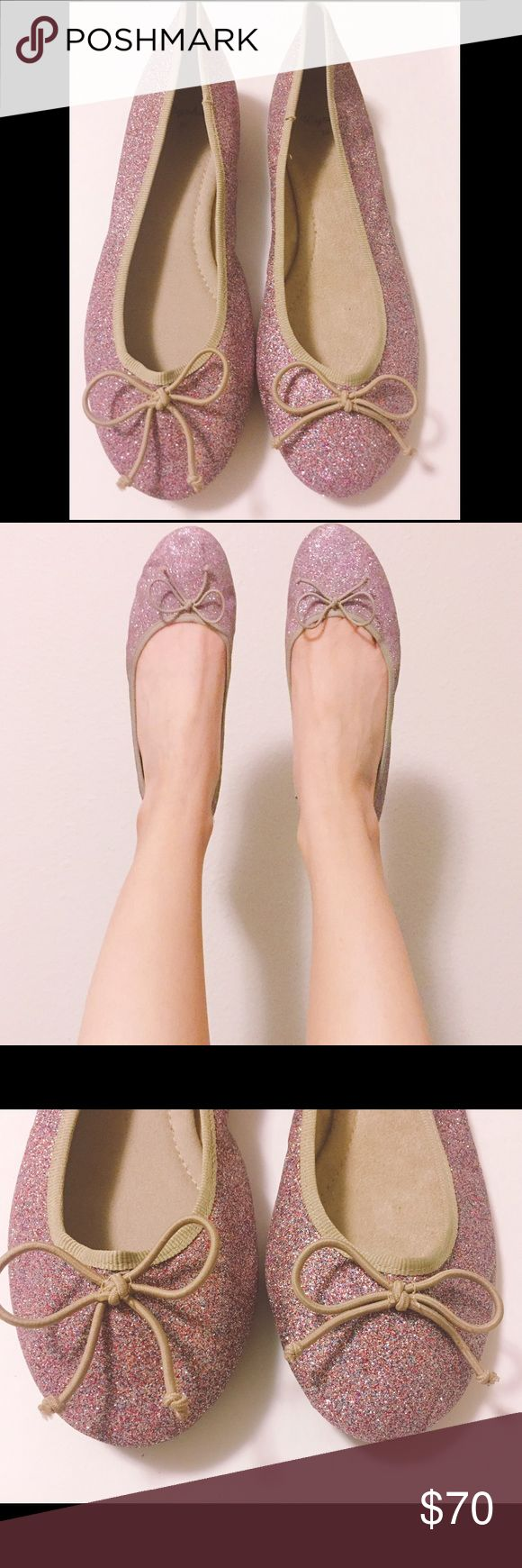 NWOB Zara Oysho pink glitter ballerina flat shoes NWOB Zara Oysho pink glitter ballerina flats. I bought 3 pairs of these but I'm gonna let these ones go  these are so comfy, sparkly and most importantly, versatile!  pink base with multi colored glitter on the exterior. Beige lining beautifully matches with glitter. Wear these with jeans, dress or black tights! They don't get dirty that easily. Feel free to ask any questions if you have. Thank you  Zara Shoes Flats & Loafers