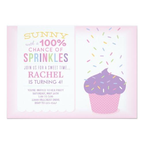 Pink Cupcake Sprinkles Birthday Card. Baby Sprinkle ShowerSprinkle ...