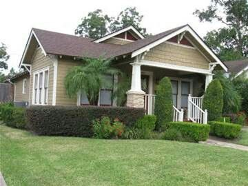 Tan bungalow w white and brown trim craftsman homes for Craftsman home builders houston