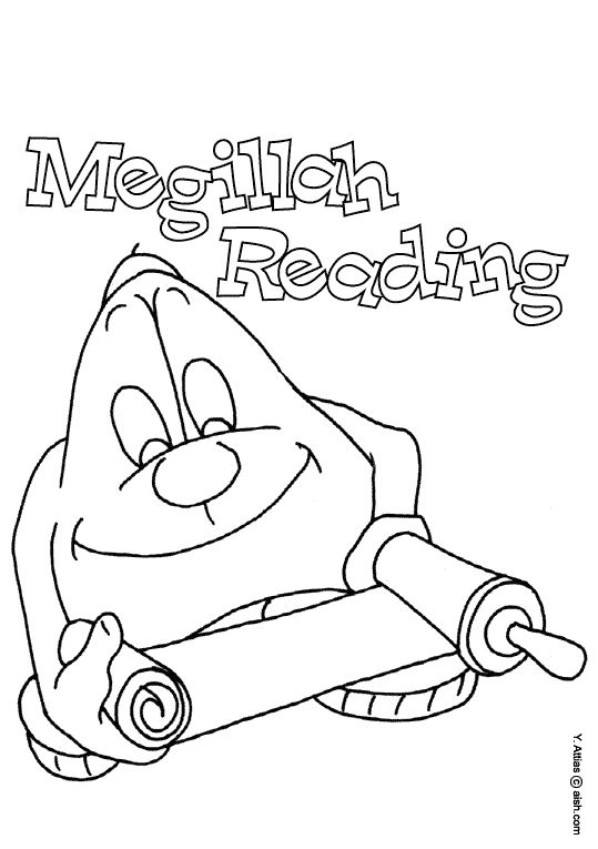 coloring page purim megillah reading english gif 539765