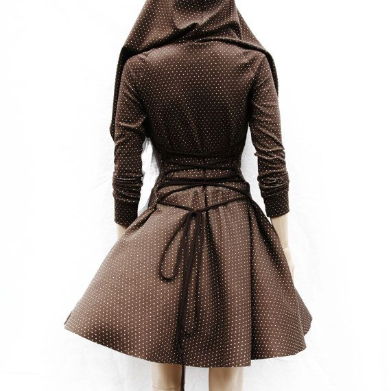 Dress / Hoodie Dress / Hooded Dress / Brown by MIRIMIRIFASHION, $109.00 style  with some knee high boots and lace boot socks yes !!