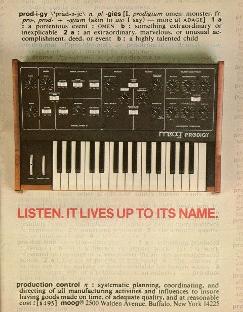 Moog Prodigy synthesizer advertisement from page 91 of Contemporary Keyboard February 1980.