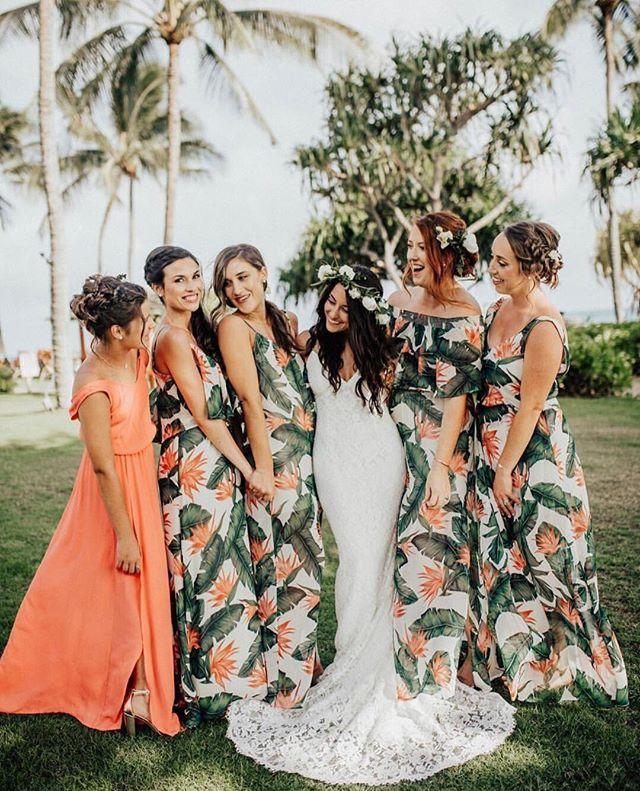 Paradise Found Bridesmaids With An Extra Pop Of Color Mumuweddings Beach Wedding Bridesmaid Dresses Hawaiian Wedding Dress Bridesmaid Dresses Different Colors