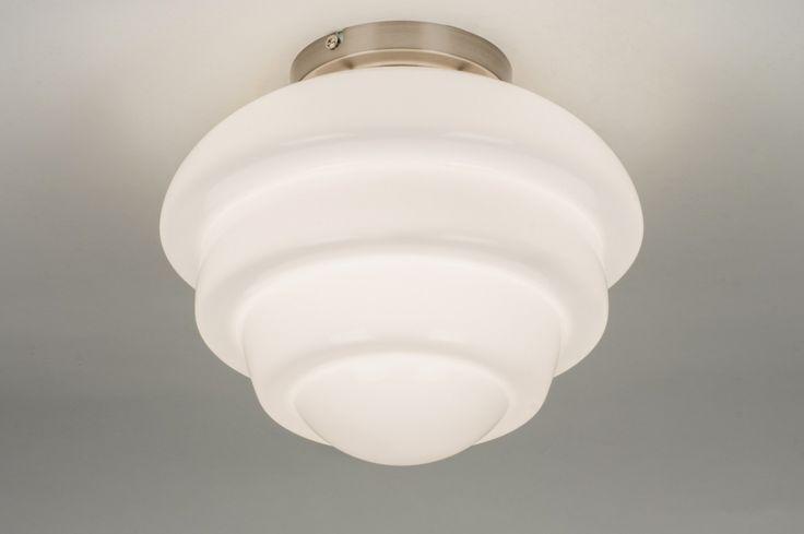 Plafondlamp 10508 klassiek retro glas wit opaalglas staal rvs wit rond