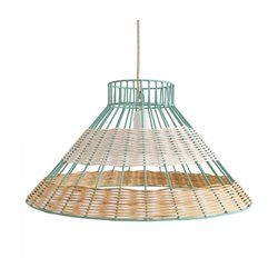 Lampe Suspension Straw Rotin Blanc et Naturel Armature bleue Serax SERAX